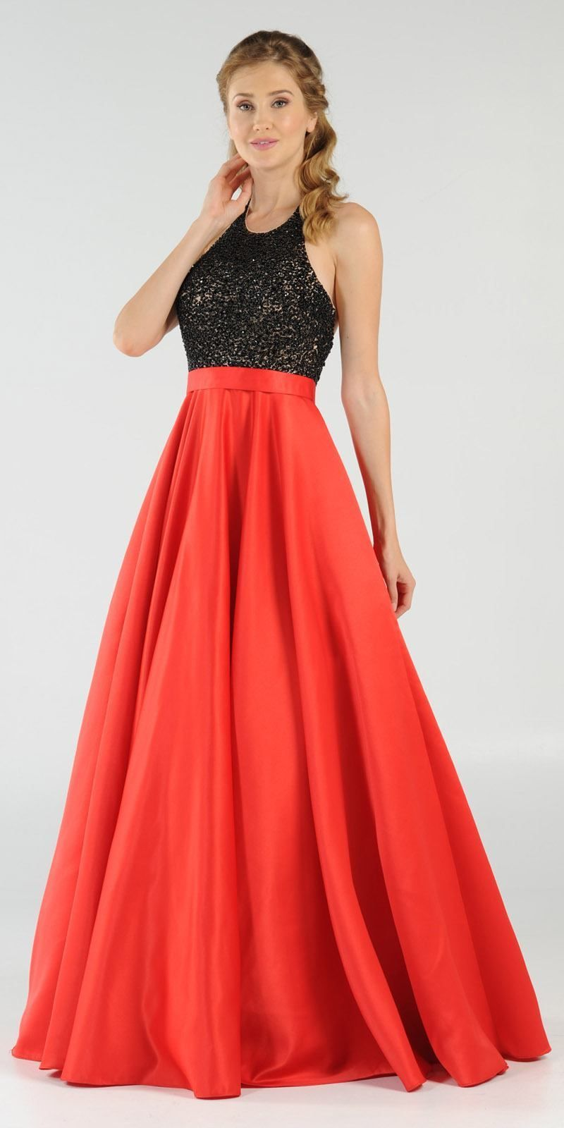 Redblack halter beaded open back long prom dress with pockets red