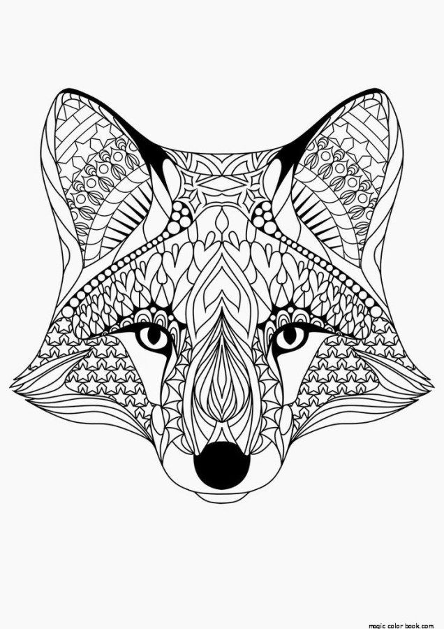 Fox Pattern Cool Coloring Pages Online Free Girls Mandala TV Print Magic Color Book Animal Pet Cat Popular Adult Boys Printable