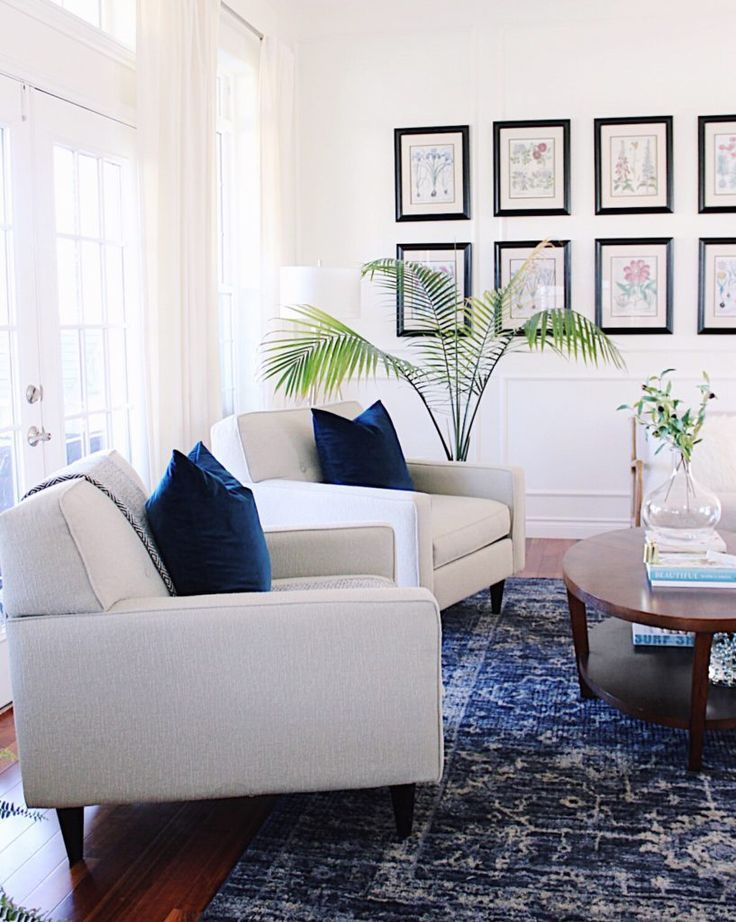 All About Blue How I M Decorating Our Home With The Color Of The Year Navy Rug Living Room Navy And White Living Room Living Room Grey