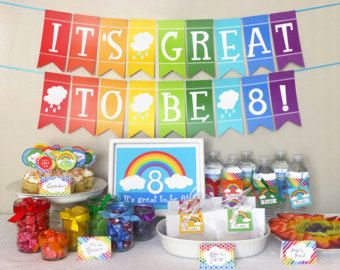 Great To Be 8 Rainbow Party Banner Lds Baptism Party Decoration