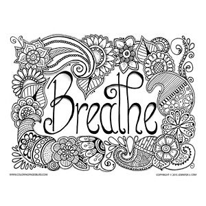 Breathe Flowers Paisley Free Coloring Page Relaxing colors