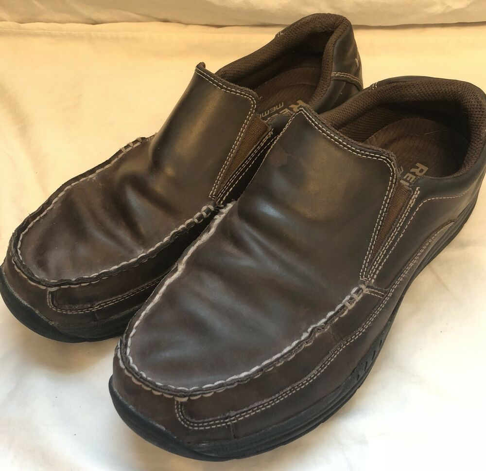 Skechers 64348 Men S Brown Leather Loafers Relaxed Fit Memory Foam