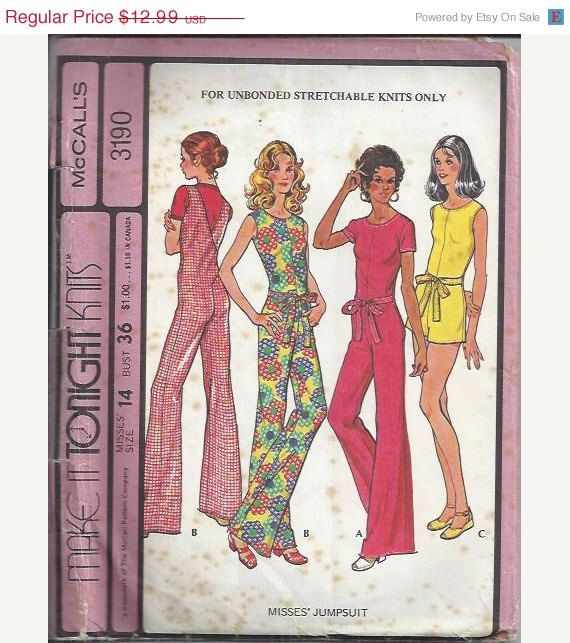 McCalls 3190    Make it Tonight    Size: 14, bust 36, waist 28    C1972    Misses Jumpsuit-For Unbonded Stretchable Knits Only: Stitch