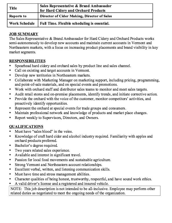 brand ambassador description resume http