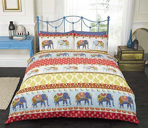 Amazon Com Indian Elephant Red Gold Blue Usa Twin 135cm X 200cm Uk Single Cotton Blend Comforter Cover Set Quilt Sets Bedding Duvet Sets Bed Sizes