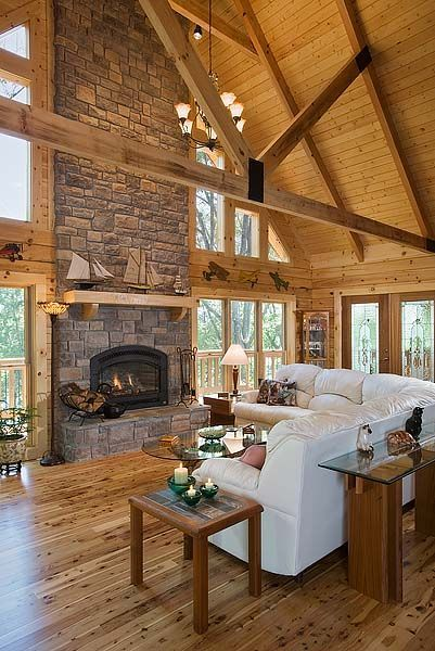 Lakeside Log Home Log Home Living Room Decor Home