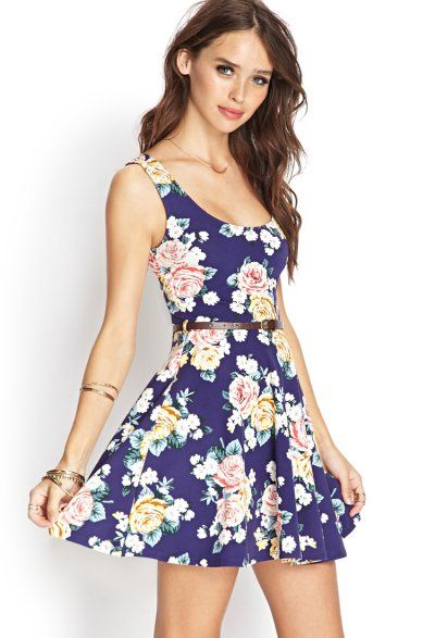 381a55b1f23b Short blue summer skater dress 2014 by Forever 21 with pink and yellow rose floral  print.
