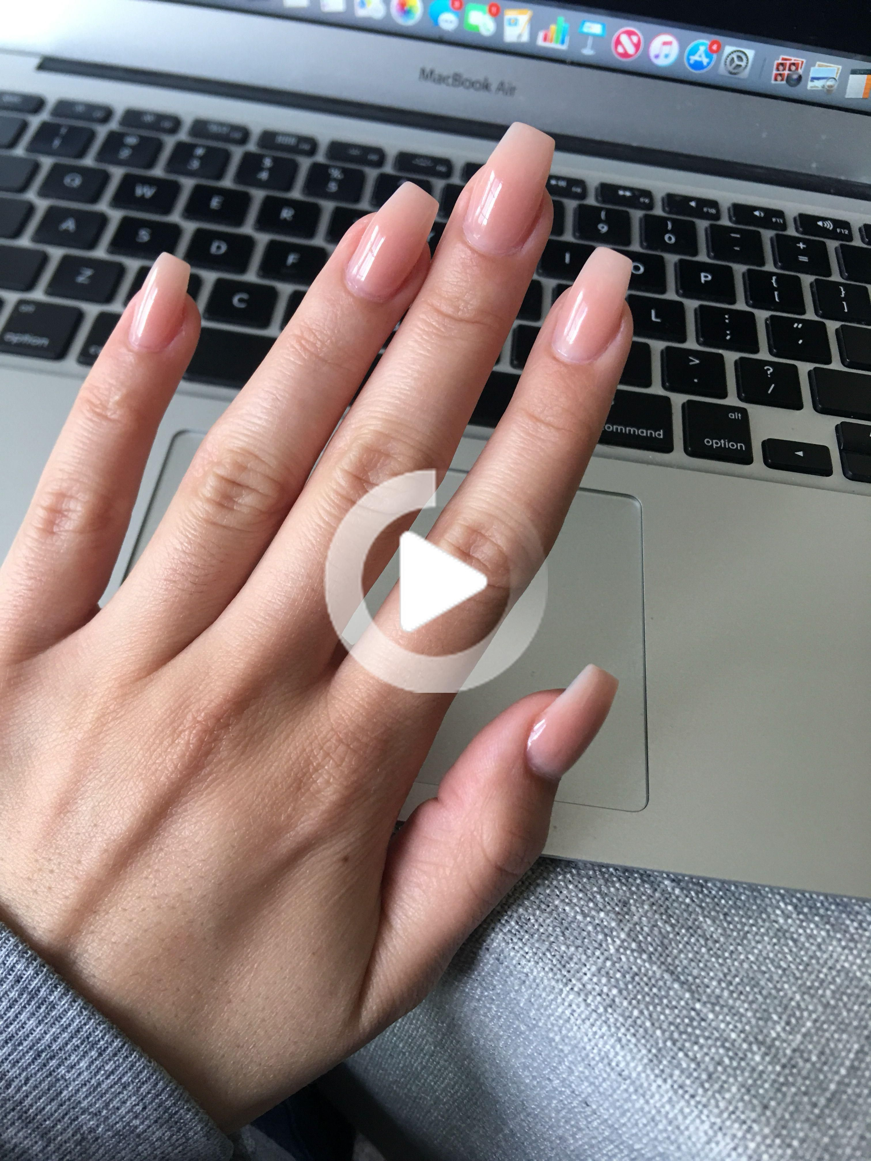 Natural Acrylic Extension Acrylic Extension On Natural Nails Soft Pink Powder Clear Gel Top Coat In 2020 Natural Acrylic Nails Natural Nails Long Gel Nails