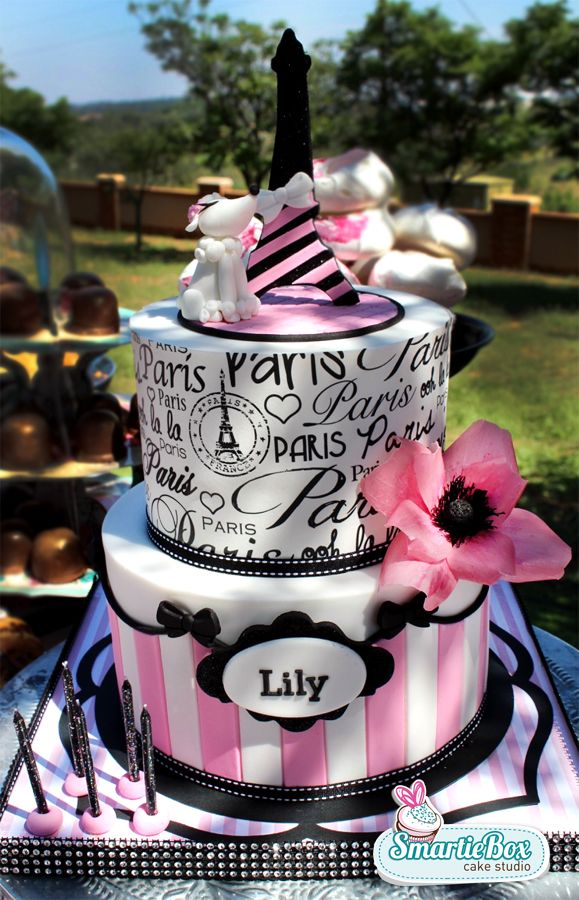 Paris inspired cake complete with Eiffel tower french poodle pink