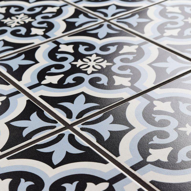 Lima 7 75 X 7 75 Ceramic Field Tile In Blue Black Ceramic