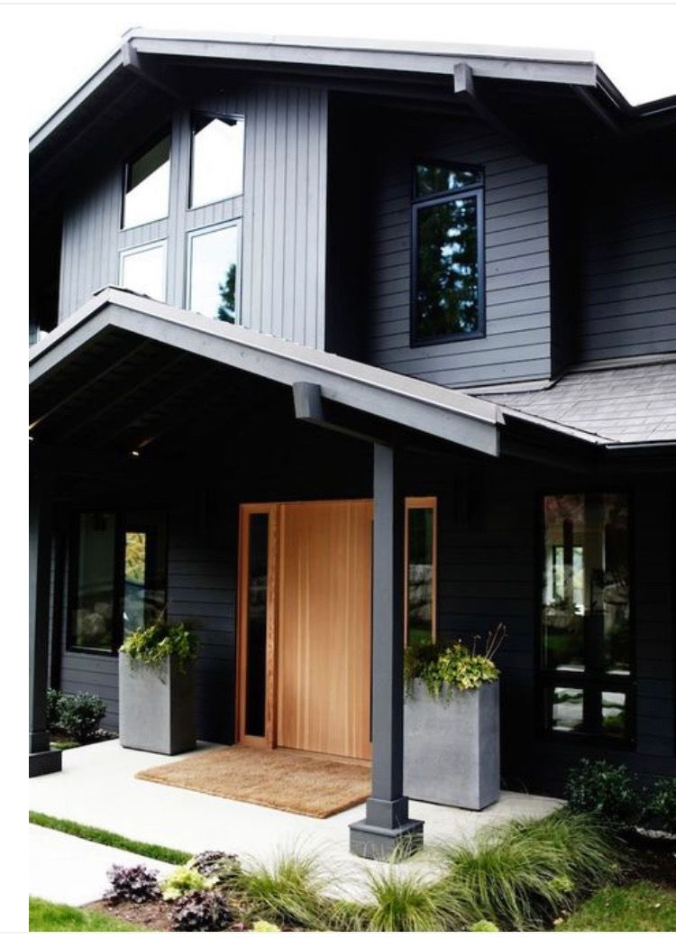 16 Enchanting Modern Entrance Designs That Boost The Appeal Of The Home: House Exterior, Grey Exterior House Colors, Best Exterior