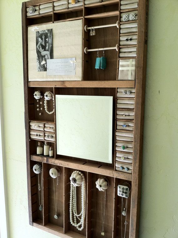 Jewelry Organizer Made From A Wood Antique Printing Tray Trays