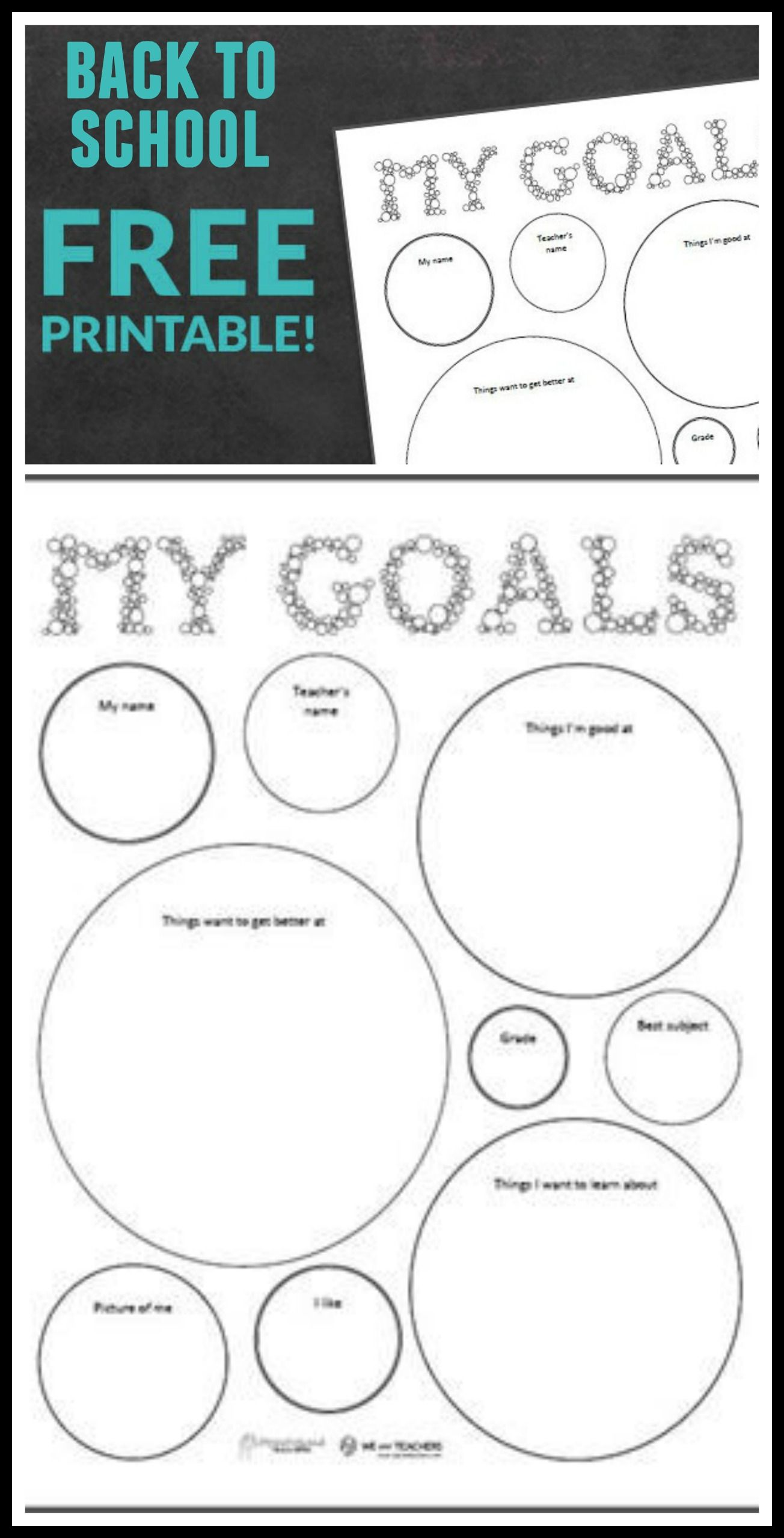 Free Printable Back To School Goal Setting