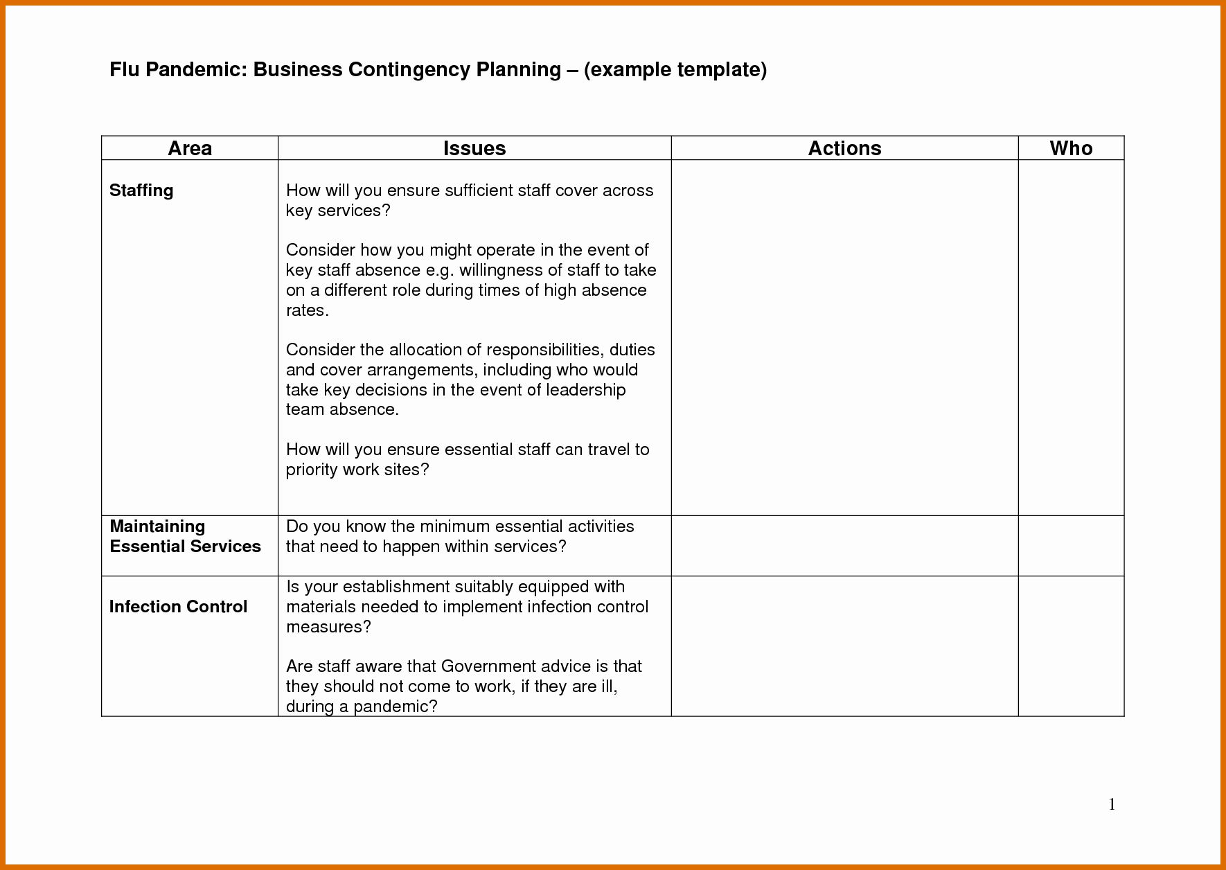 Small Business Continuity Plan Template Awesome 9 10