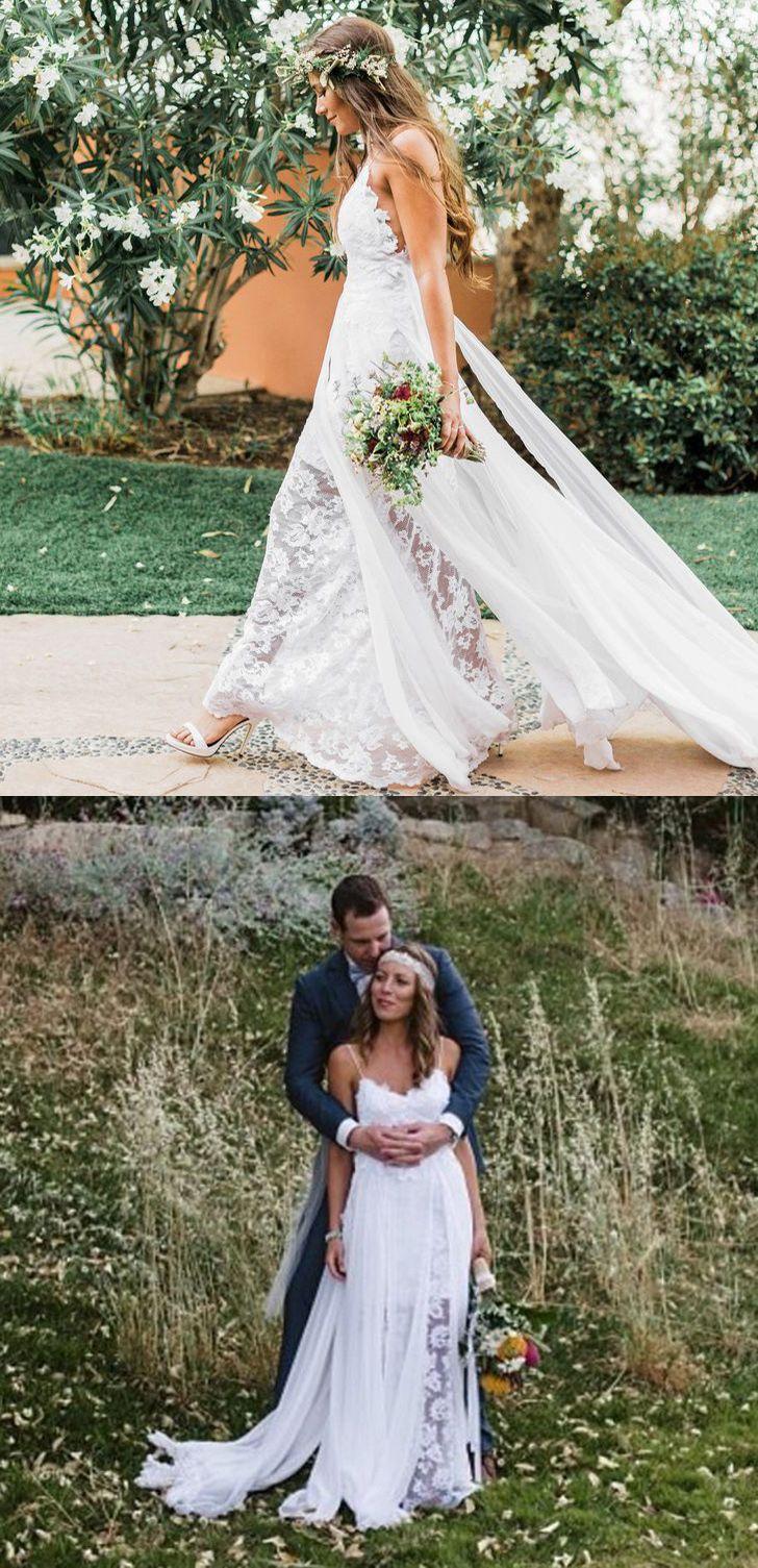 Spaghetti straps sleeveless beach wedding dress simple lace boho