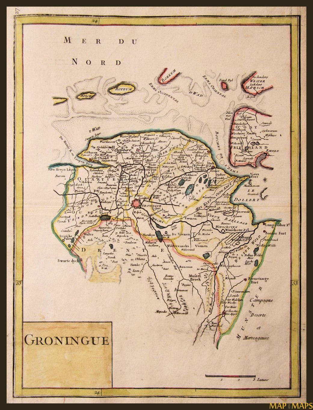 Groningen antique map Groningue Drente le Rouge 1748   Family ...