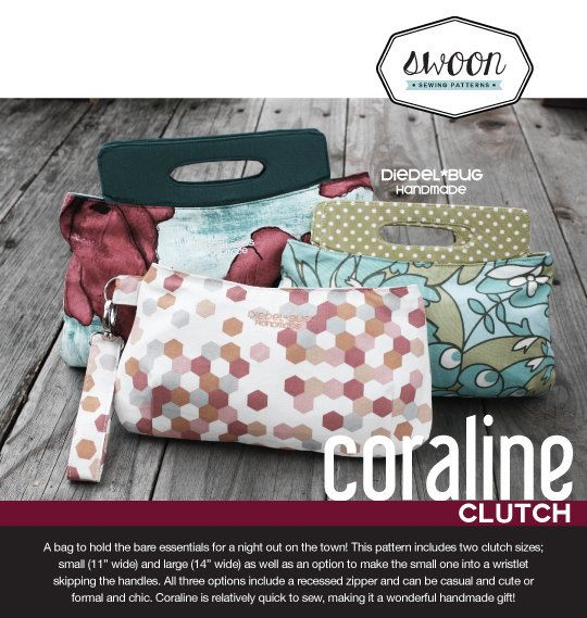 Swoon Patterns: Coraline Clutch - PDF Bag Purse Clutch Wristlet ...