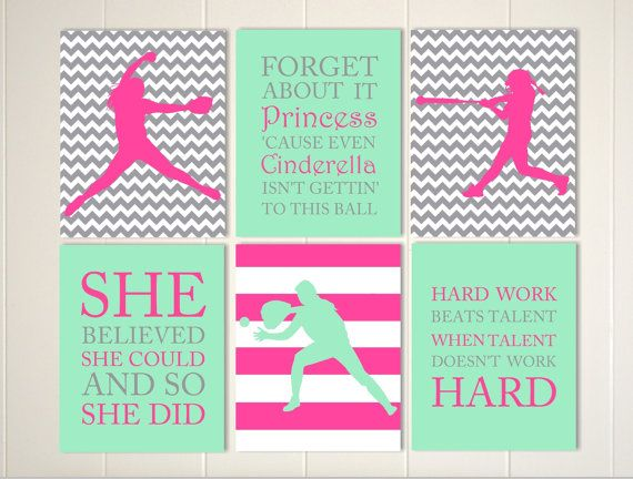 Softball Wall Art Softball Girls Room Girls By PicabooArtStudio