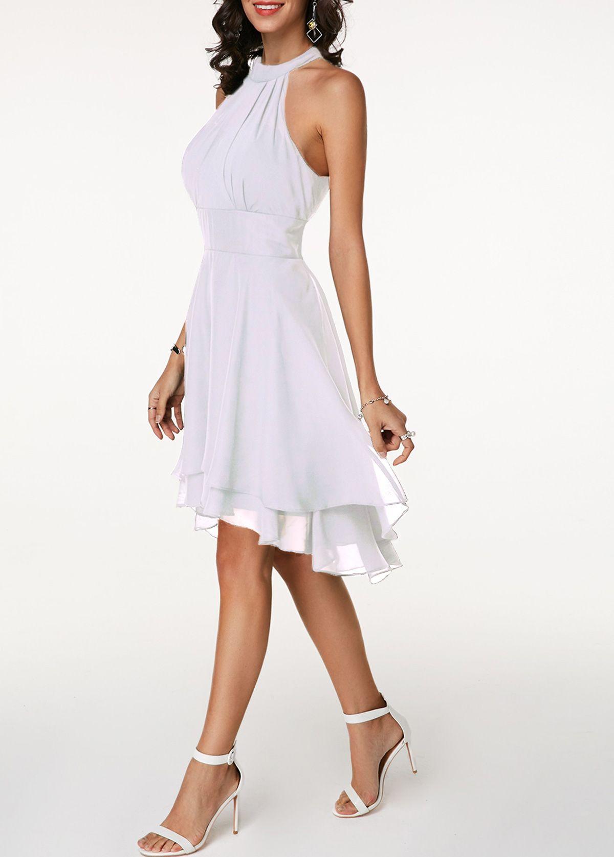 High Waist Sleeveless Asymmetric Hem White Dress Rotita Com Usd 31 65 Sleeveless Chiffon Dress White Mini Dress White Fringe Dress