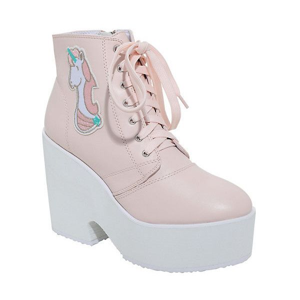 62a6a0943d0 Pink Unicorn Wedge Booties ( 60) ❤ liked on Polyvore featuring shoes