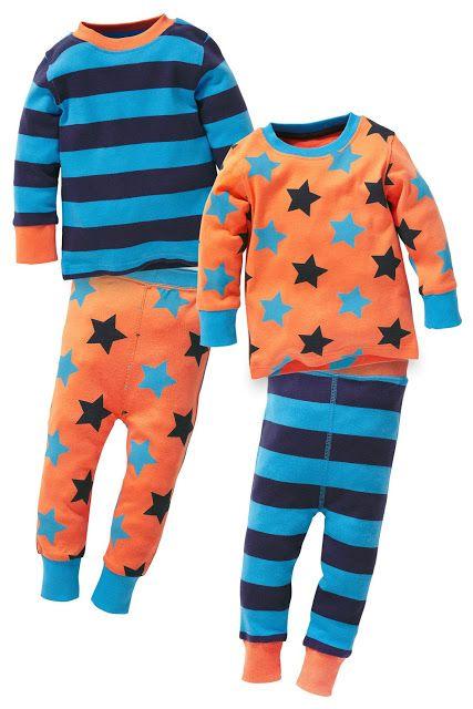 Next Orange Stars and Stripes Pyjamas Two-Pack