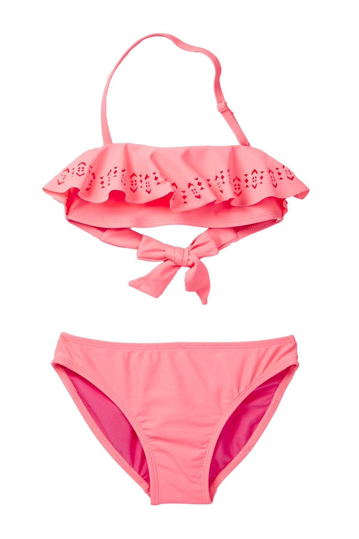 Laser Cut Bandeau Bikini & Bottom Set (Big Girls)