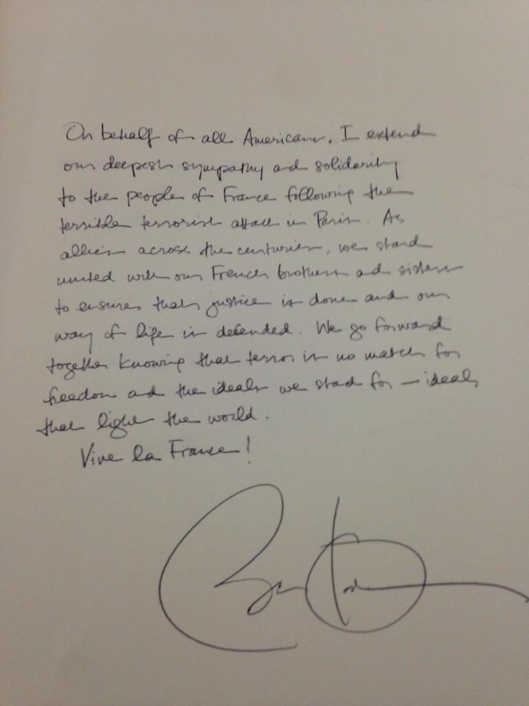 Les mots de Barack #Obama sur le livre d'or de l'ambassade à Washington #JeSuisCharlie