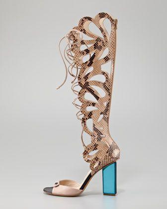 Nicholas Kirkwood -Scalloped Snakeskin Sandal Boot - #shoes #gold #scalloped #snakeskin #spring