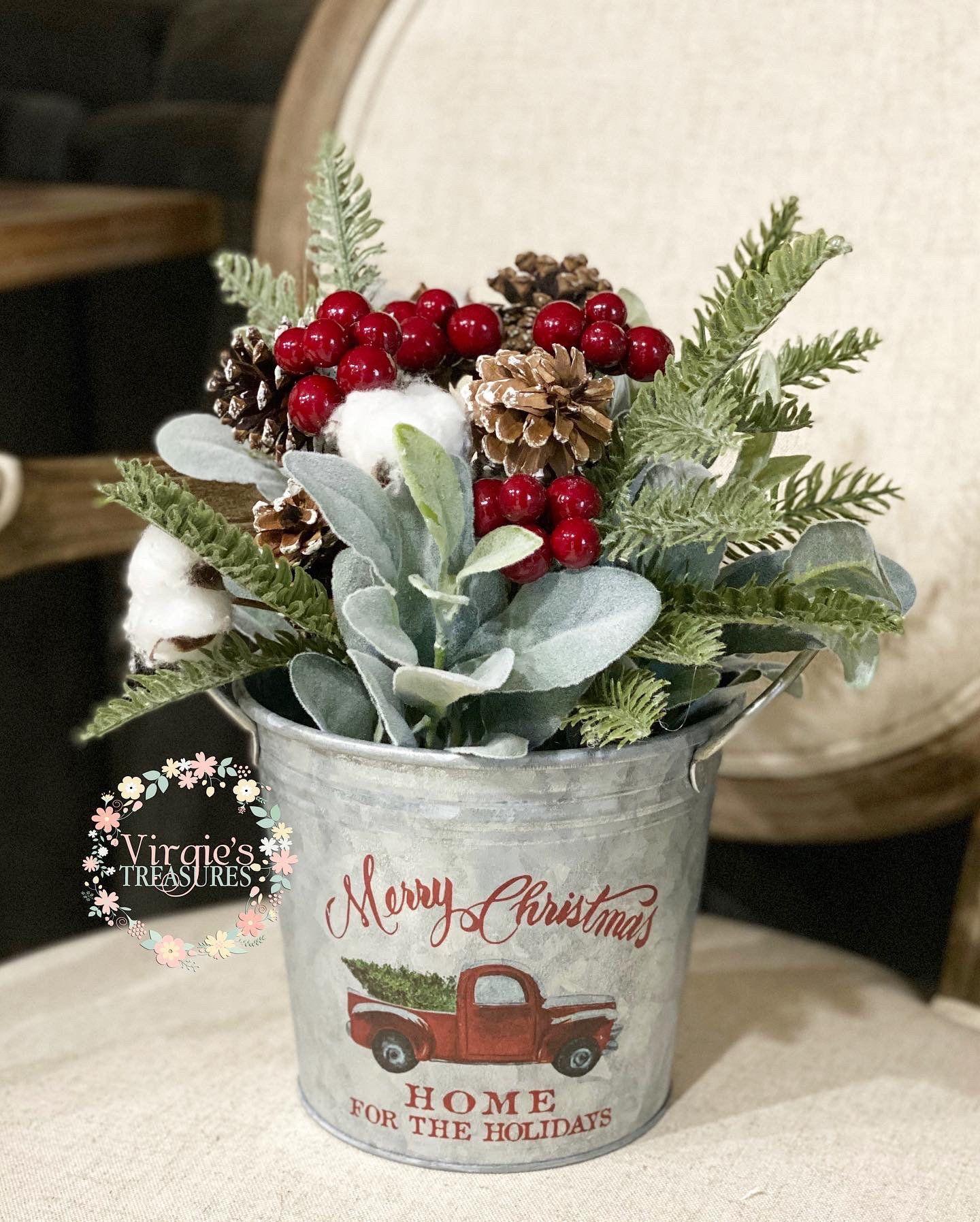 Christmas floral arrangement farmhouse christmas decor