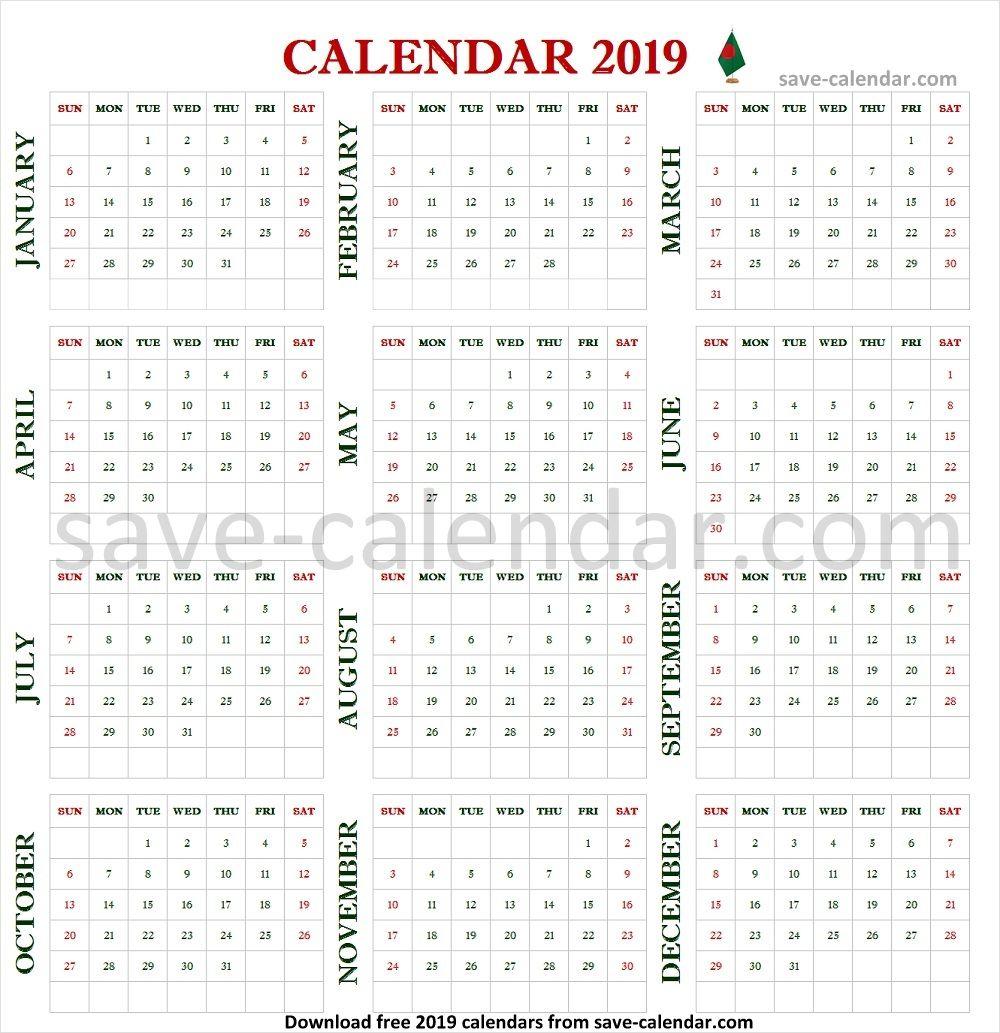 2019 Bangladesh Calendar Template Printable With Images 2019