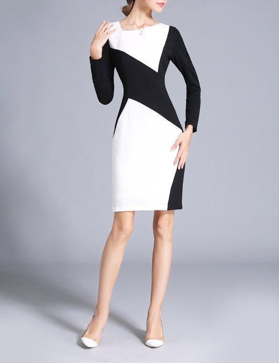 62234a7130 Black and White Color Block Fall Dress Custom Office Made to Measure Dress  Womens Elegant Dress Contrast Color Chieflady CC503 Plus Size Clothing  Material  ...