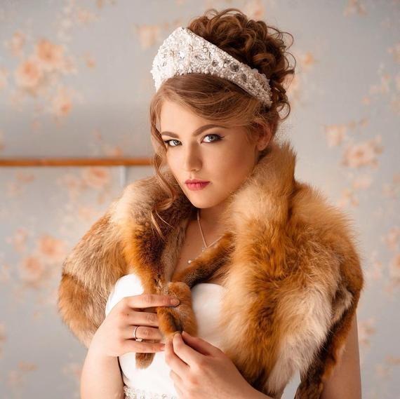 Russian style,kokoshnik,crown tiara diadem,kokoshnik tiara,Bridal Hair Accessory,Royal Bridal ...