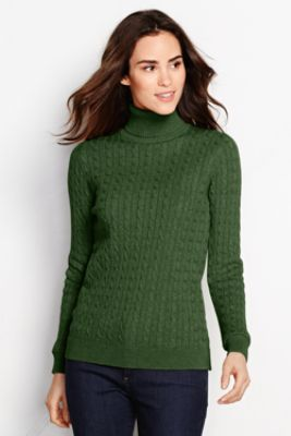 Women's Cotton Cable Turtleneck Sweater | Sweaters | Pinterest ...