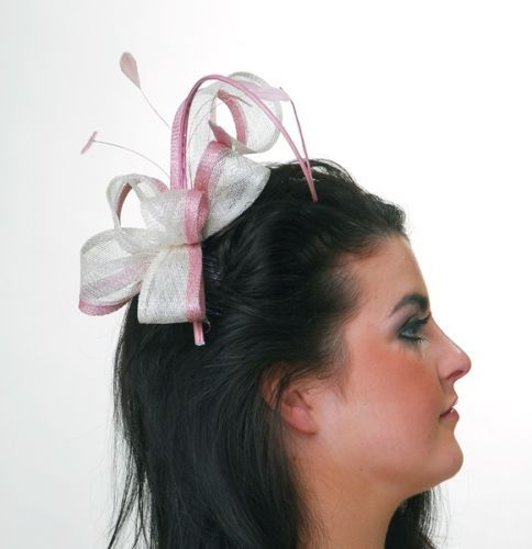Rose-Pink-Ivory-Sinamay-Fascinator-With-Quill-Detail