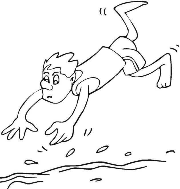swimming kids coloring pages - photo#19