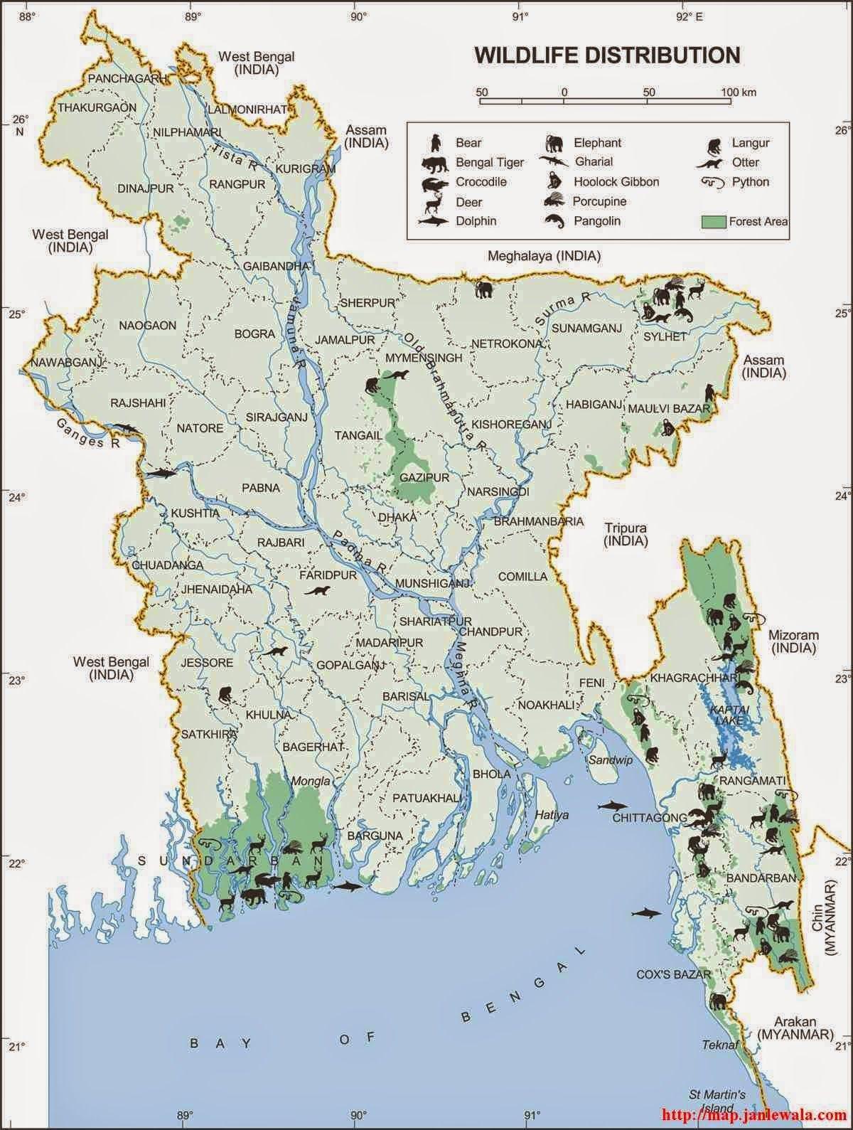 Bangladesh Wildlife Distribution Area