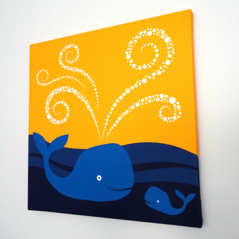 Swimming Whales Fabric Canvas Wall Art - Modern baby nursery kids ...