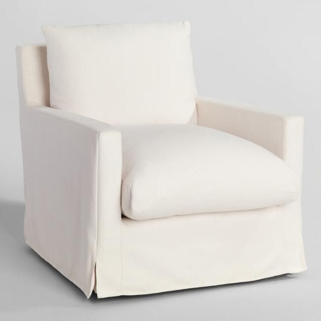 Ivory Feather Filled Swivel Brynn Armchair World Market