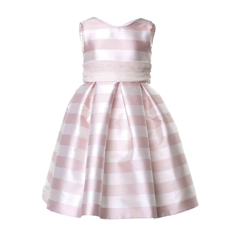 bcd87c968d05 La Stupenderia - Abito Bambina Bianco E Rosa Elegante abito satinato a  strisce firmato La Stupenderia