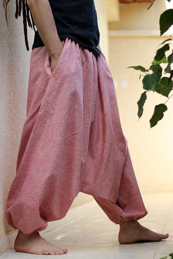 Striped Linen Men S Harem Pants With Pockets Drop Crotch Etsy Harem Pants Men Yoga Pants Men Fashion