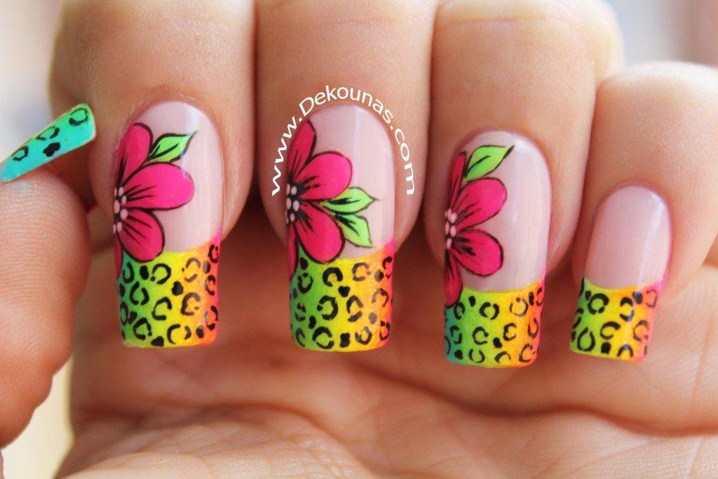 Decoración de uñas FACIL Flores y animal print neón