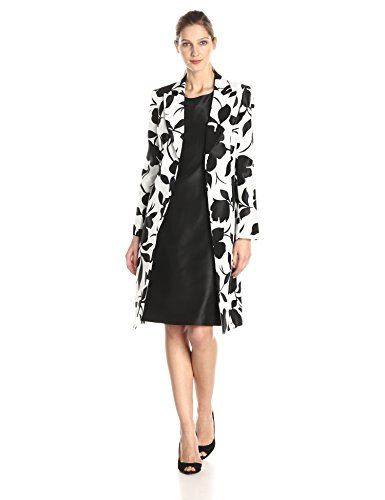Le Suit Women's Long Sleeve Printed Jacket Dress, White/Black, 10 ...