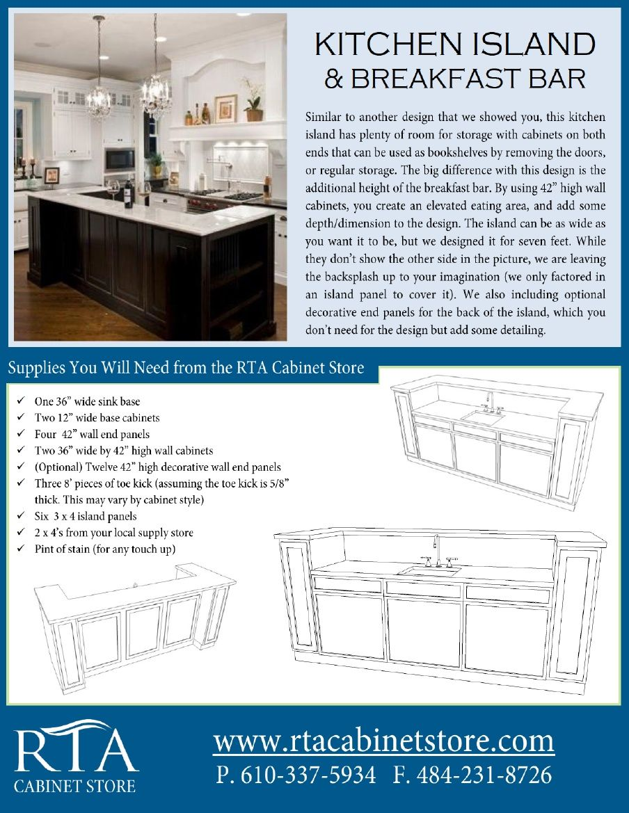 The rta cabinet store - Building A Kitchen Island With Breakfast Bar Using Rta Kitchen Cabinets Step By Step Instructions There Are Two Pages So For The Second Page Head Over