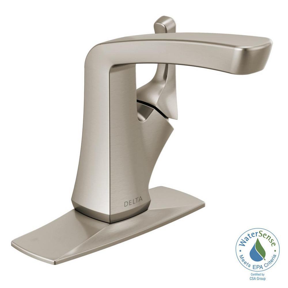 Delta Vesna 4 In Centerset Single Handle Bathroom Faucet In Spotshield Brushed Nickel 15789lf Sp The Home Depot Single Handle Bathroom Faucet Bathroom Faucets Faucet [ 1000 x 1000 Pixel ]