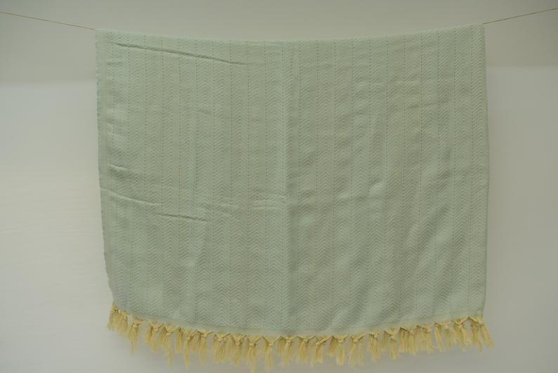 Mint Green Turkish Blanket Turkish Throws Organic Cotton Towel