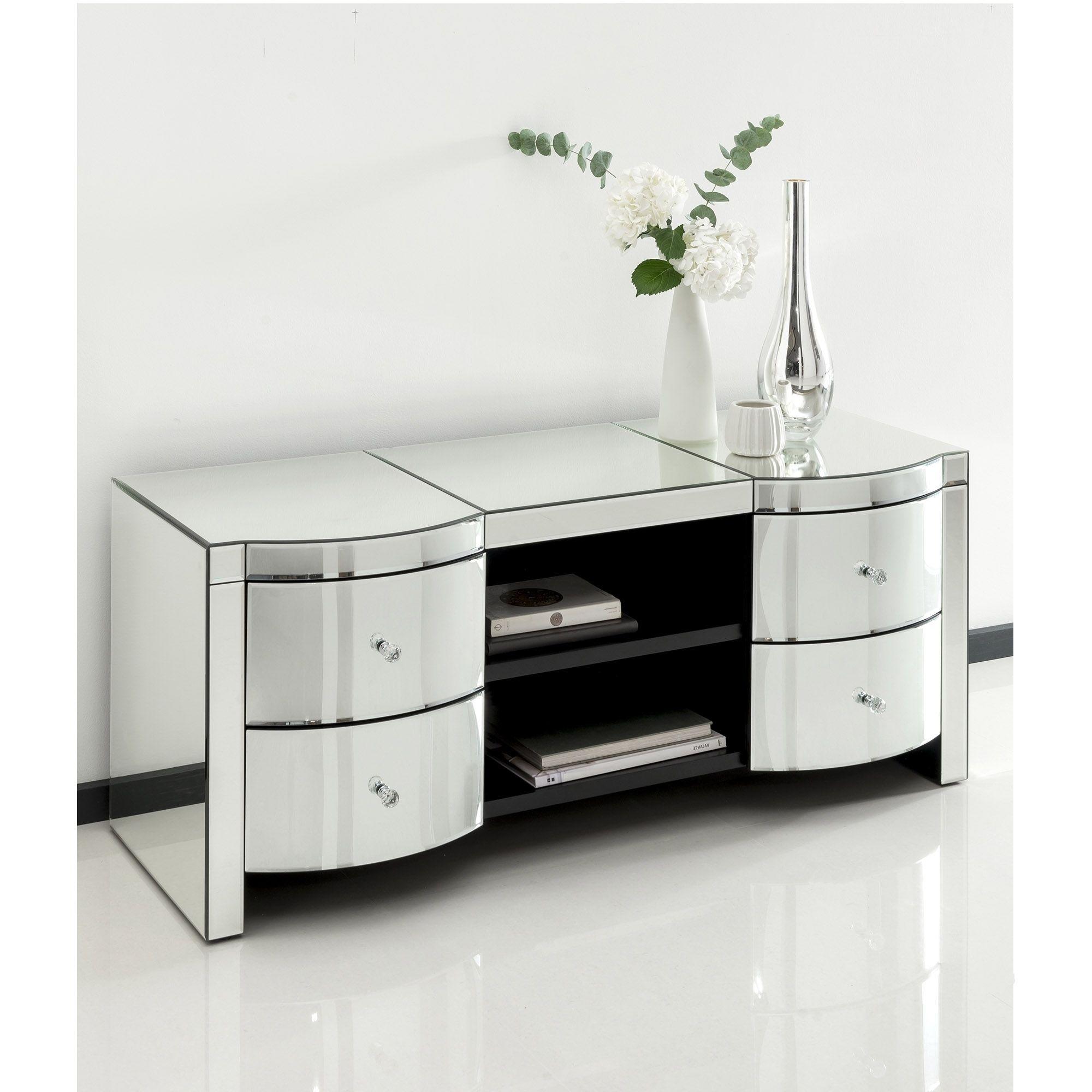 Romano Crystal Mirrored TV Cabinet | Venetian Mirrored Furniture ...