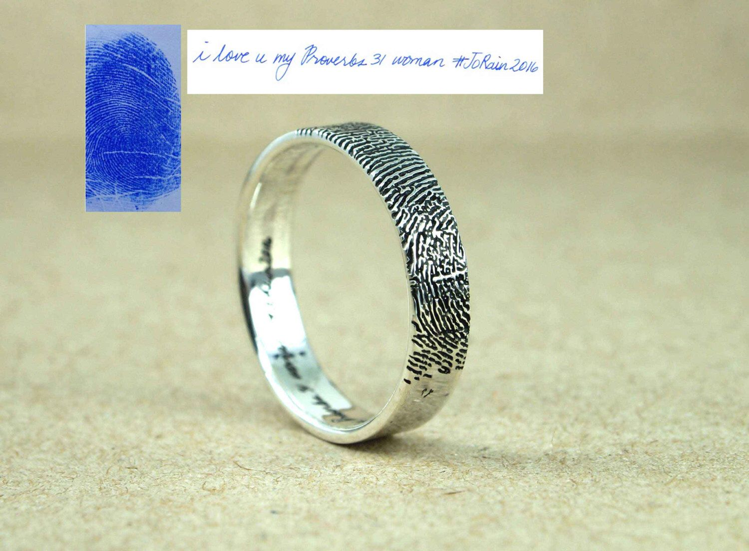 Handwriting Ring with the Writing - Actual Fingerprint Ring ...