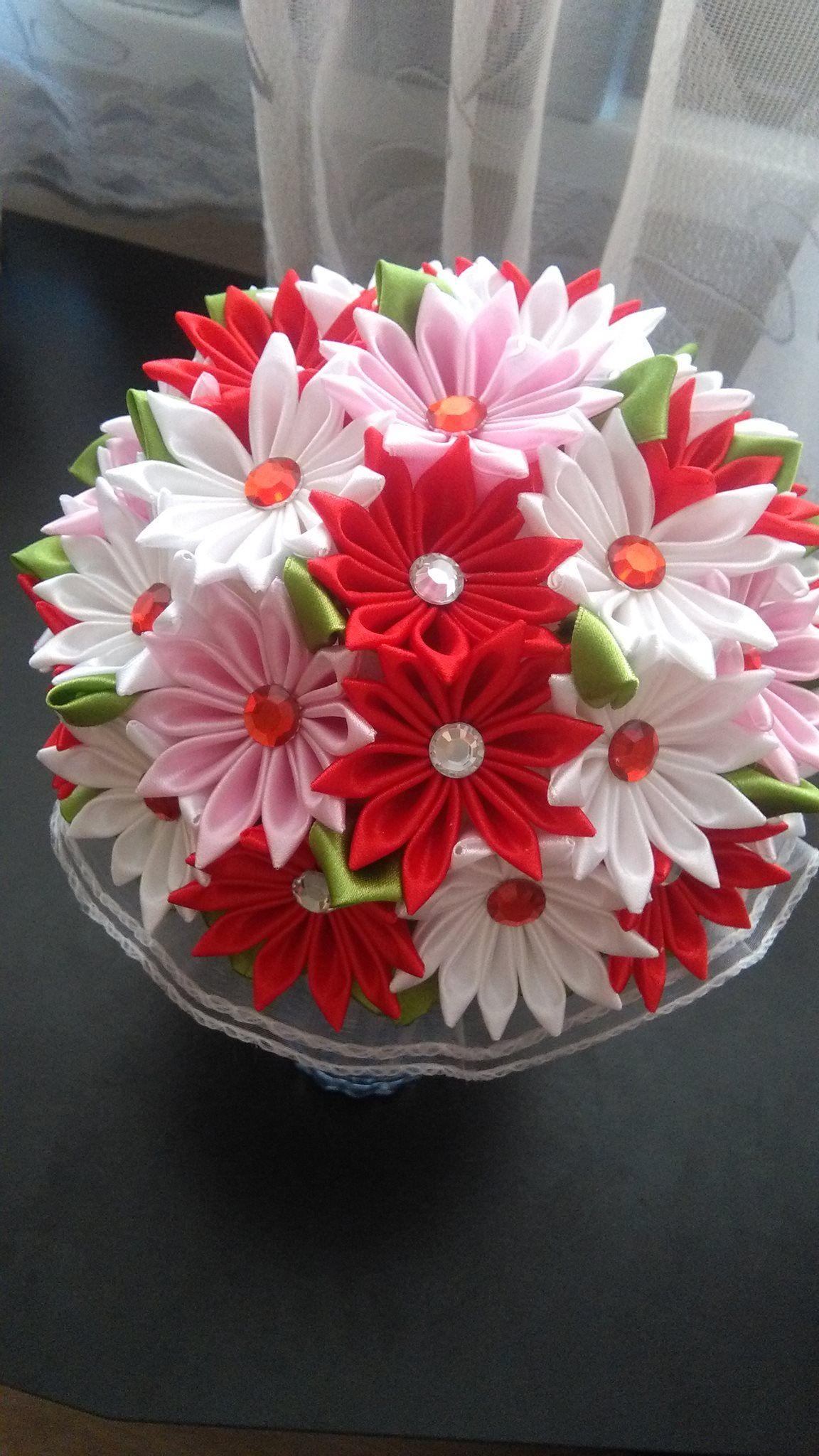 Pin By Ala Klusek On Flower Bouquet Trees Handmade Wedding Bouquet Kanzashi Flowers Flower Crafts