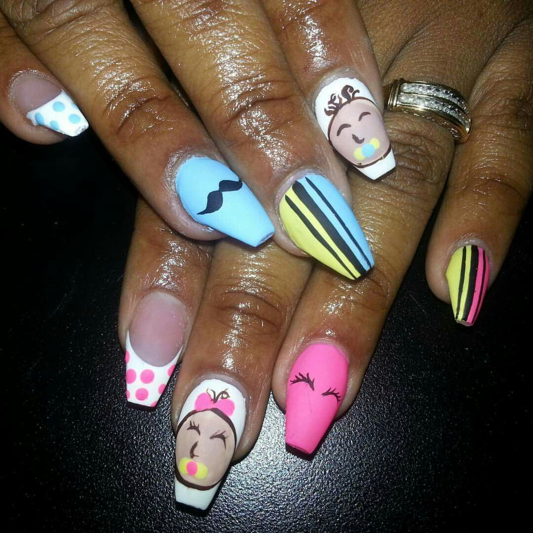 Baby shower nails Staches or lashes baby shower Blue baby shower ...
