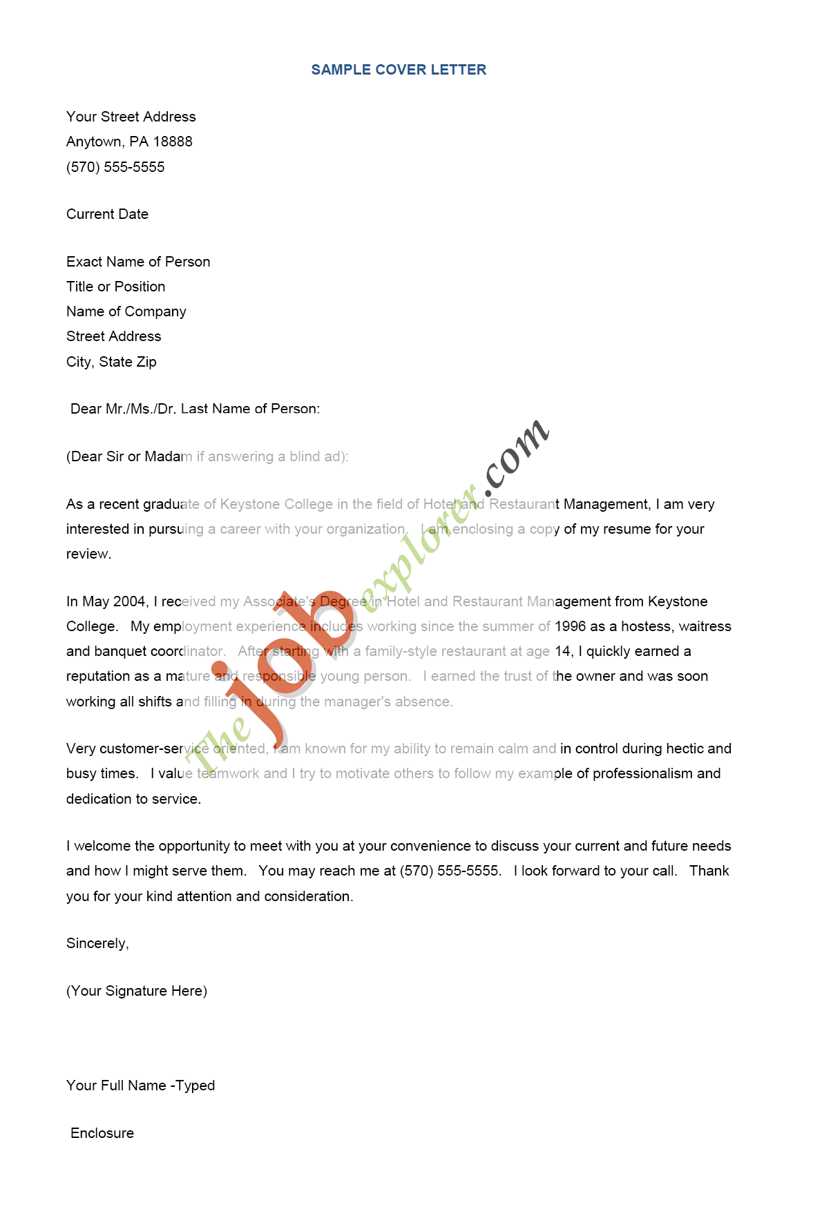 Resume Cover Letter Examples Housekeeping Example Format For